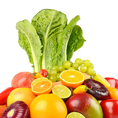 Wall Mural - Fruits and vegetables side view isolated on white