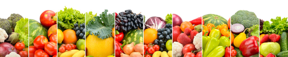 Wall Mural - Wide photo of multi-colored fresh fruits and vegetables divided vertical lines isolated on white