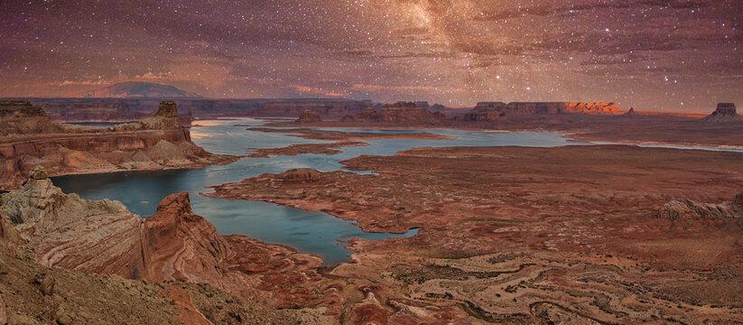 Alstrom Point at lake powell, Arizona, USA. Milky way and stars at lake powell with beautiful rocks formation.