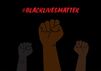 Illustration of Fists with Black Lives Matter Social Network Hashtag