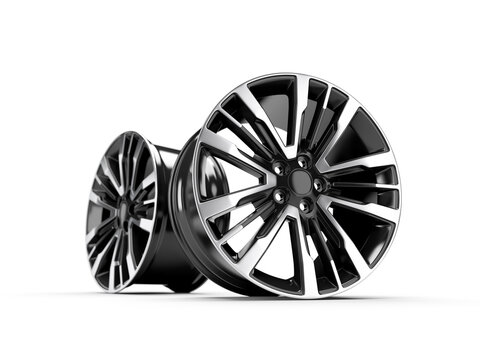 Powder coating of black wheel disk on white background. 3D rendering illustration.