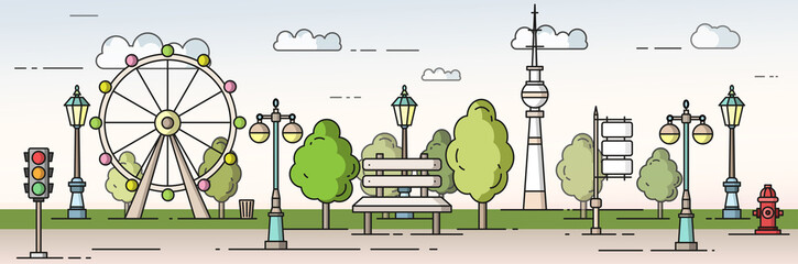 Fototapete - Park in the city concept vector flat style  illustration