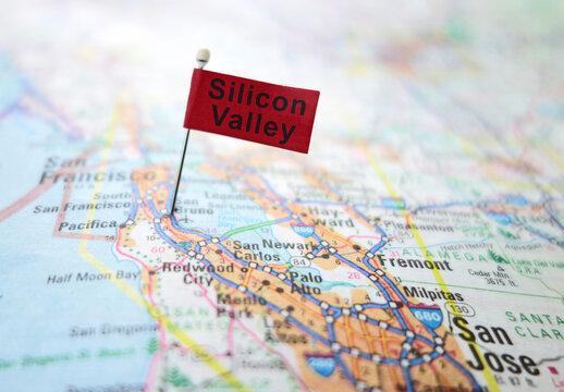RALEIGH,NC/USA - 5-22-2020: Silicon Valley pin flag in a map of the San Francisco Bay area, including San Jose and Palo Alto