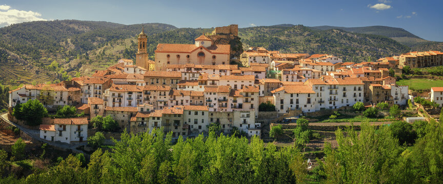 Panoramic of the historic village of Linares de Mora in the province of Teruel, Spain