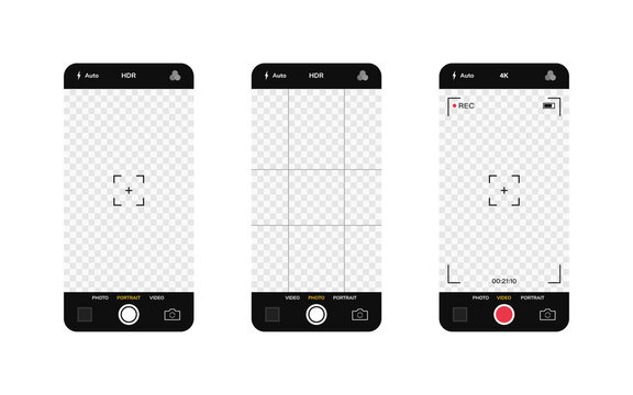 Phone camera interface. Mobile app application. Photo and video shooting. Vector illustration graphic design
