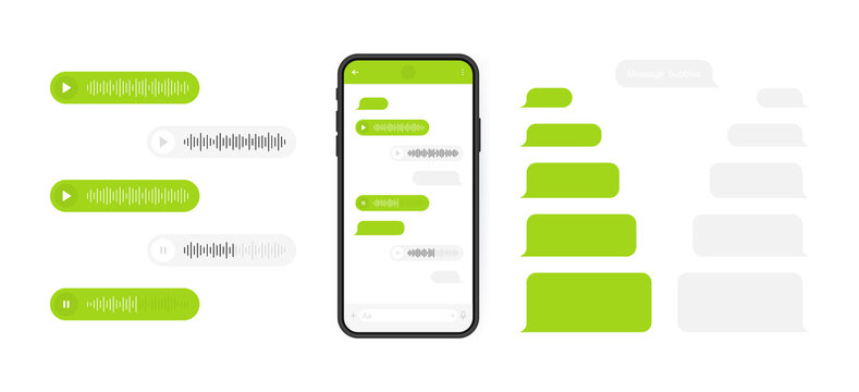 Social media design concept. Smart Phone with messenger chat screen and voice wave. Sms template bubbles for compose dialogues. Modern vector illustration flat style