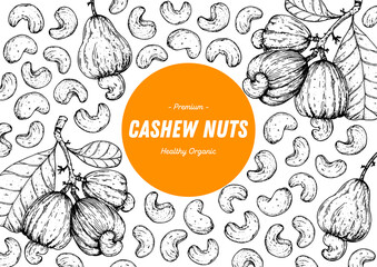 Cashew nuts hand drawn sketch. Nuts vector illustration. Organic healthy food. Great for packaging design. Engraved style. Black and white color. Fotobehang
