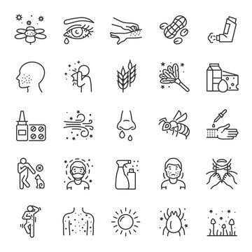 Allergies, allergic diseases, icon set. hypersensitivity of the immune system, linear icons. Allergic reaction to an allergen: food, pollen, dust, etc.Line with editable stroke