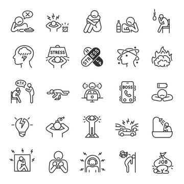 Depression, state of low mood and aversion, sadness, suicidal thoughts icon set. People experiencing depression, linear icons. Line with editable stroke