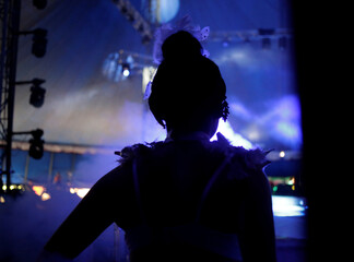 A woman artist enters on stage during a circus performance in Atayde's Circus tent, where people enjoy the show from their cars as a measure to combat the spread of the coronavirus disease (COVID-19), in San Nicolas de los Garza