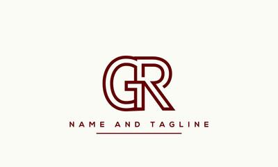Fototapeta Alphabet letters monogram icon logo RG or GR obraz