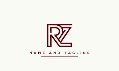 Obraz Alphabet letters monogram icon logo RZ or ZR - fototapety do salonu