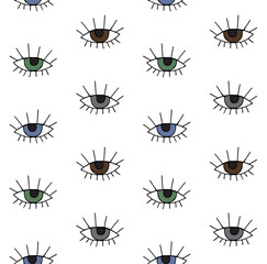 Vector seamless pattern of hand drawn doodle sketch different color eye isolated on white background
