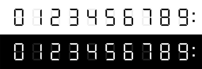 Digital clock numbers. Vector isolated elements. Digital calculator number set.
