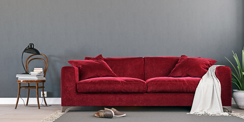 Gray mock up wall with luxury carmine red sofa in modern interior background, living room, Scandinavian style, 3D render, 3D illustration
