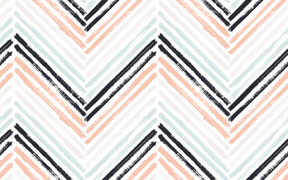 Brush stroke chevron zig zag seamless pattern.