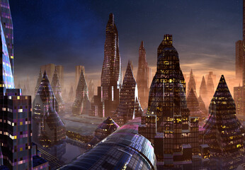 3D Rendered Futuristic City on an Alien Planet - 3D Illustration Fotomurales