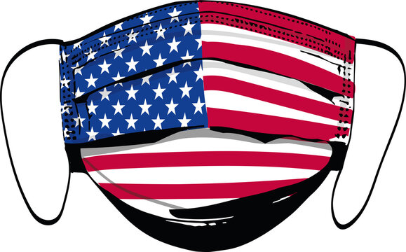 USA flag on medical face masks isolated on white