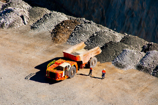 Mining Dump Truck on Ore Pad