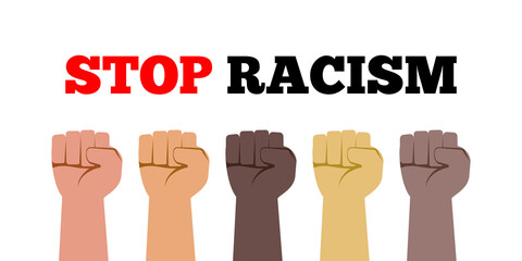 stop racism fist hands with various skin colors vector illustration