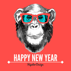 Merry Christmas and Happy New Year card with portrait of hipster monkey. Hand drawn vector illustration for fashion print, poster for textiles, fashion design and t-shirt graphics