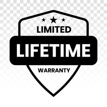 Limited lifetime warranty seal or stamp on a transparent background
