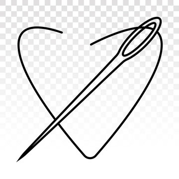 Sewing needle / sewing threads - line art icons for apps or website