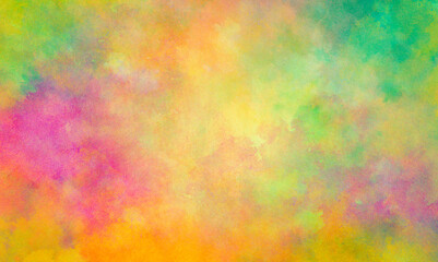 Wall Mural - Colorful watercolor background of abstract sunset or Easter sunrise sky with puffy color splash clouds in bright painted colors of pink yellow orange and green