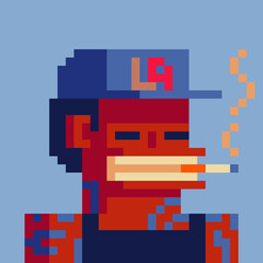 Gangster character pixel art set, smoking gangsta rap stars. Avatar, portrait and profile picture. Design of 80s. Game assets. 8-bit. Isolated vector illustration.