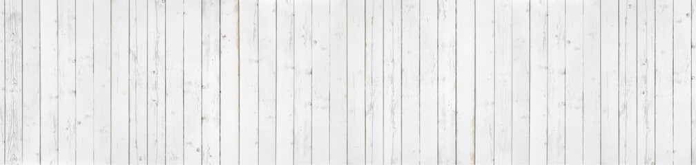White wood texture background panorama. Top view surface of the table.
