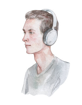 portrait of a young guy with headphones
