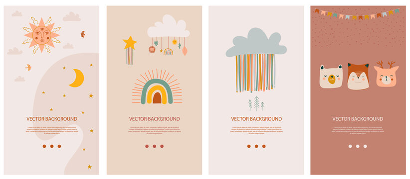Set of vertical background template for social network and mobile app with cute boho elements for kids, decorative doodle and animals. Vector illustration.