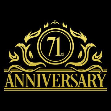Luxury 71st anniversary Logo illustration vector