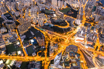 Wall Mural - Epic Aerial view in night, Highway in Kowloon downtown, Hong Kong