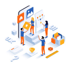 Wall Mural - Modern flat design isometric illustration of App development and Ui Design. Can be used for website and mobile website or Landing page. Easy to edit and customize. Vector illustration