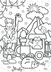Poster Cartoon draw Cute bear and friends in the forest coloring pages. Kids coloring book. Worksheet for children.