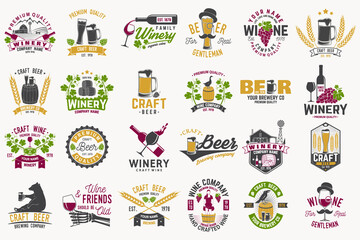 Set of Craft Beer and wine company badges with hops, raven and bear. Vector. Vintage design for winery company, bar, pub and restaurant business. Coaster for beer or wine glasses.