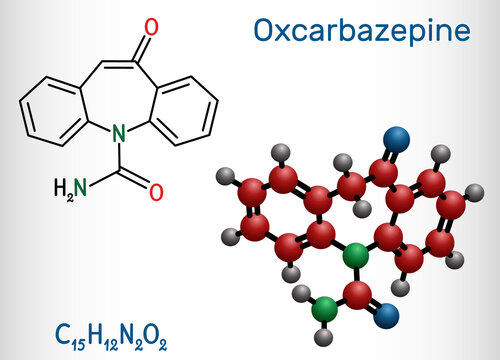 Oxcarbazepine, C15H12N2O2 molecule. It is antiepileptic, anticonvulsant drug used in treatment of seizures, epilepsy, bipolar disorder. Structural chemical formula, molecule model