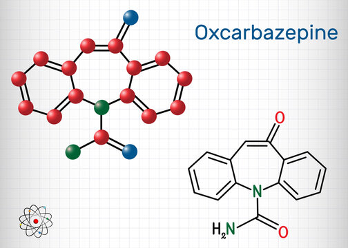 Oxcarbazepine, C15H12N2O2 molecule. It is antiepileptic, anticonvulsant drug used in treatment of seizures, epilepsy, bipolar disorder. Sheet of paper in a cage