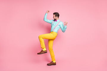 Canvas Prints Dance School Full length body size view of his he nice attractive glad successful cheerful cheery bearded guy rejoicing dancing celebrating having fun isolated over pink pastel color background