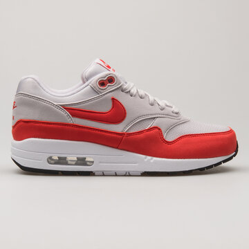 VIENNA, AUSTRIA - FEBRUARY 19, 2018: Nike Air Max 1 grey, red and white sneaker on white background.