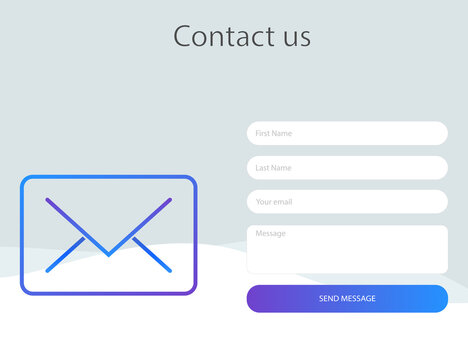 Contact form window. Template of feedback page with gradient mail icon. Mockup frame for contact us form. Message box with send button. Isolated editable template mail box. Vector EPS 10.