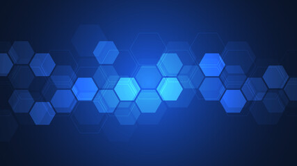 Fotobehang - Abstract background with geometric shapes and hexagon pattern. Illustration for medicine, technology or science design.