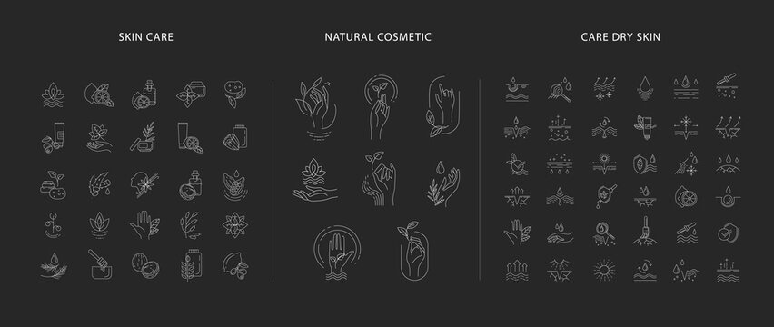 Vector icon and logo for natural cosmetics and care dry skin