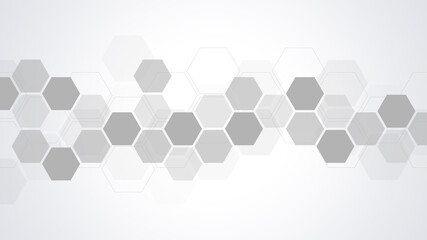 Fotobehang - Abstract background with geometric shapes and hexagon pattern. Vector illustration for medicine, technology or science design.