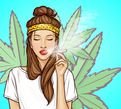 Pop art young woman with closed eyes smoking herbal cigarette cannabis. Relaxed hipster girl holding a jamb with marijuana. Vector illustration isolated on green marijuana leaves background