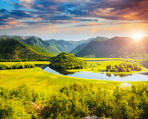 Wall Mural - The magical valley of the Rijeka Crnojevica. Location place National park Skadar Lake, Montenegro.