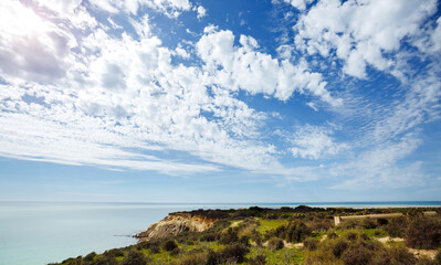 Wall Mural - View of the azure sea on a sunny day. Location place Island Sicily, Italy, Europe.