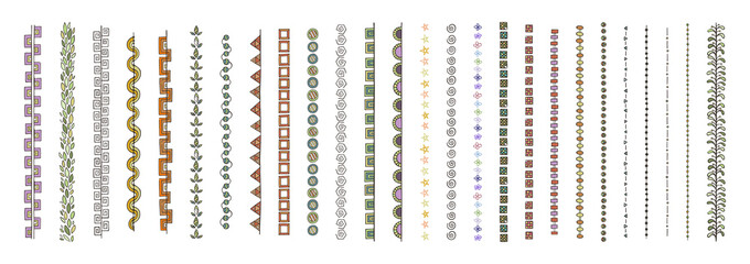 Doodle dividers, brush lines and borders set. Rustic decorative design elements and patterns