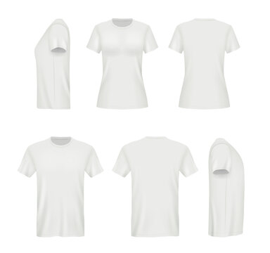Realistic shirts. Male and female blank clothes template vector mockup. Sport t-shirt mockup, uniform clothing, cotton model front illustration